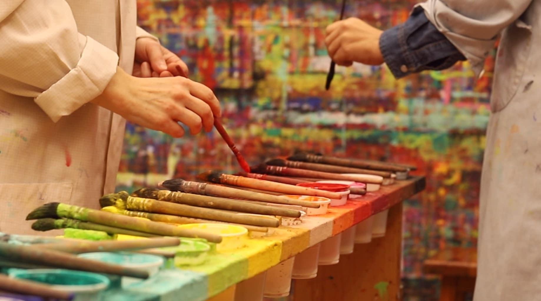 Taller de pintura, mesa paleta